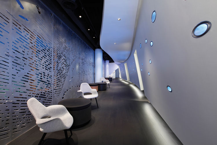 """The Moving Picture Company in Santa Monica, California. Designed by Patrick Tighe Architecture. Winner of the 2011 Institute Honor Award for Interior Architecture. Project description: """"The forms and patterns developed are produced using studies of light."""