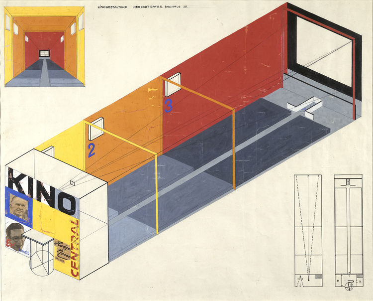 Design for a cinema by Herbert Bayer. Image courtesy the Museum of Modern Art.
