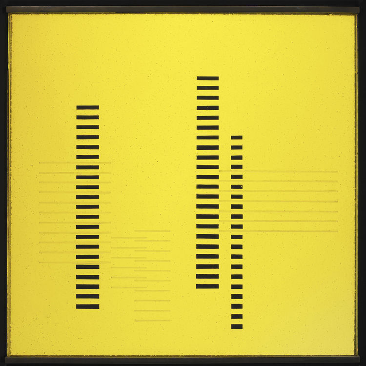 <i>Skyscrapers on Transparent Yellow</i> by Josef Albers. Image courtesy the Museum of Modern Art.