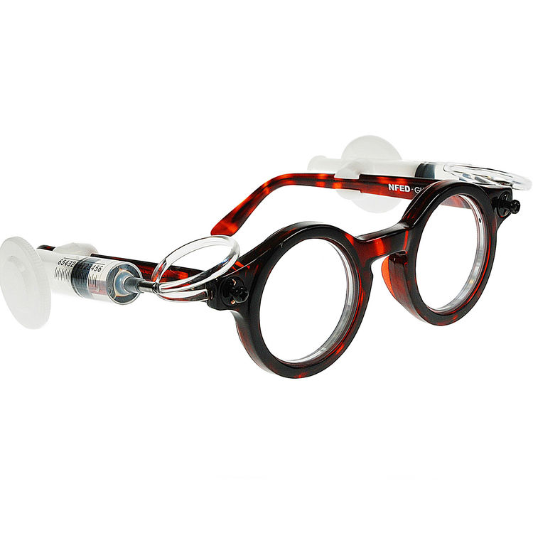 Adaptive Eyeglasses. Joshua Silver (British, b. 1946), Adaptive Eyecare Ltd. and Oxford Centre for Vision in the Developing World. United Kingdom, 1996–present. Plastic tubing, aluminum rings, silicone fluid, polyester thin film, polycarbonate covers. Pho