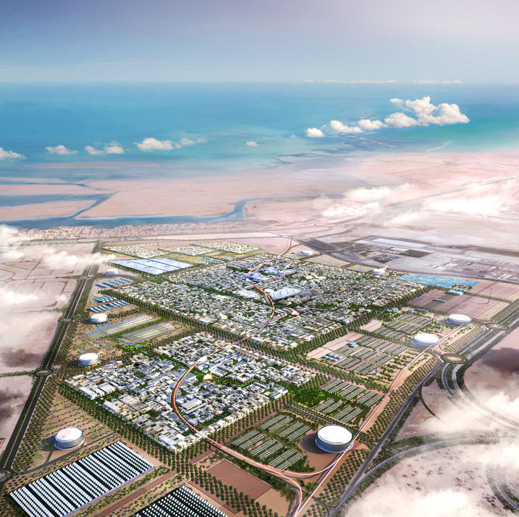 Masdar Development, city plan. Foster + Partners. Client: Masdar - Abu Dhabi Future Energy Company. United Arab Emirates and United Kingdom, 2007; expected completion 2018. Rendering: Foster + Partners
