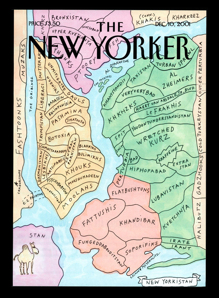 Kalman's illustrations have graced many a <i>New Yorker</i> cover. Here, a piece called <i>New Yorkistan</i>, published in 2001. Photo by Maira Kalman.