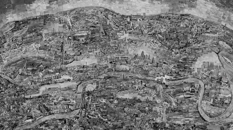 Nishino's latest creation is a map of London. He took over 10,000 pictures using over 300 rolls of black and white film. Of these, only 4,000 photos made it onto the London map.<br /><br /><i>Diorama Map London</i>, 2010, Light jet print on Kodak Endura p
