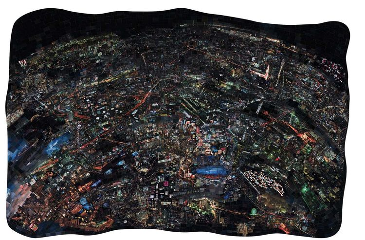 "Nishino also uses color photographs using the same process to produce ""i-Land"" and ""Night.""<br /><br /><i>Diorama Map Night</i>, 2009/2010, Light jet print on Kodak Endura paper, 150 x 231 cm, © Sohei Nishino, Courtesy of Michael Hoppen Contemporary/ Emon"