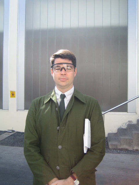 Once we'd had our introductions we suited up in safety glasses for a glimpse of the factory. Fetching, no?