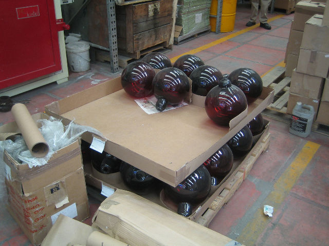 The factory was full of all manner of objects in all stages of production. I loved these massive bulbs, though I don't know what precisely they were for.