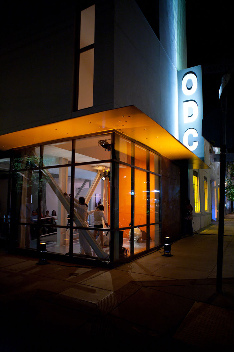 The night of the Architecture of Light, the structure was all lit up by lighting designer Elaine Buckholtz. Musicians performed on two small balconies and part of the performance took place in what will be a cafe space looking directly on the street. This
