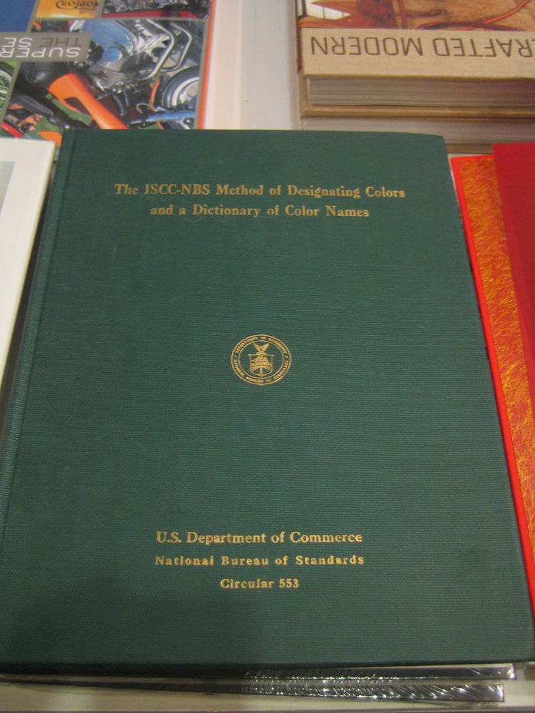 Here's Otto's favorite book in the shop: The ISSC-NBS Method of Designating Colors and a Dictionary of Color Names. It's a pre-Pantone color family from 1964.