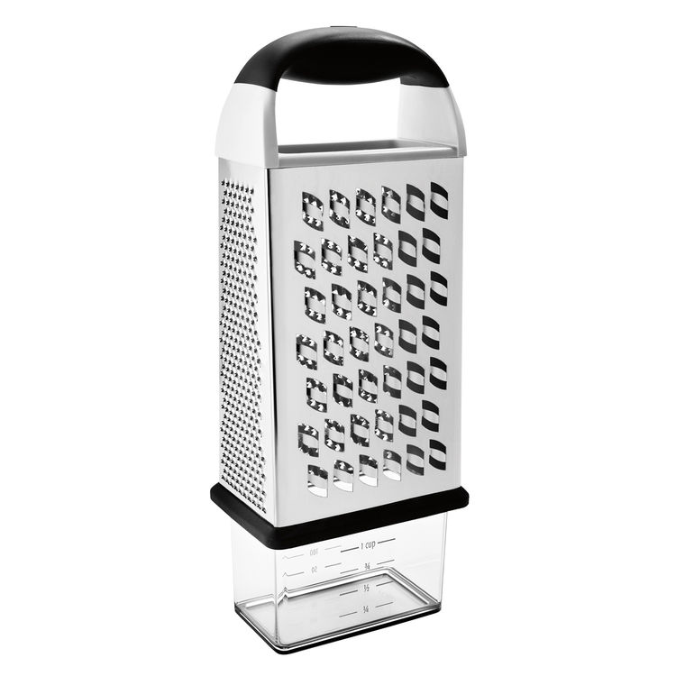 The stainless steel Box Grater, available in September, eliminates the need for multiple graters as well as the need for a cutting board on which to grate. It features coarse, medium, and fine grating surfaces and a box at the bottom to catch your shredde