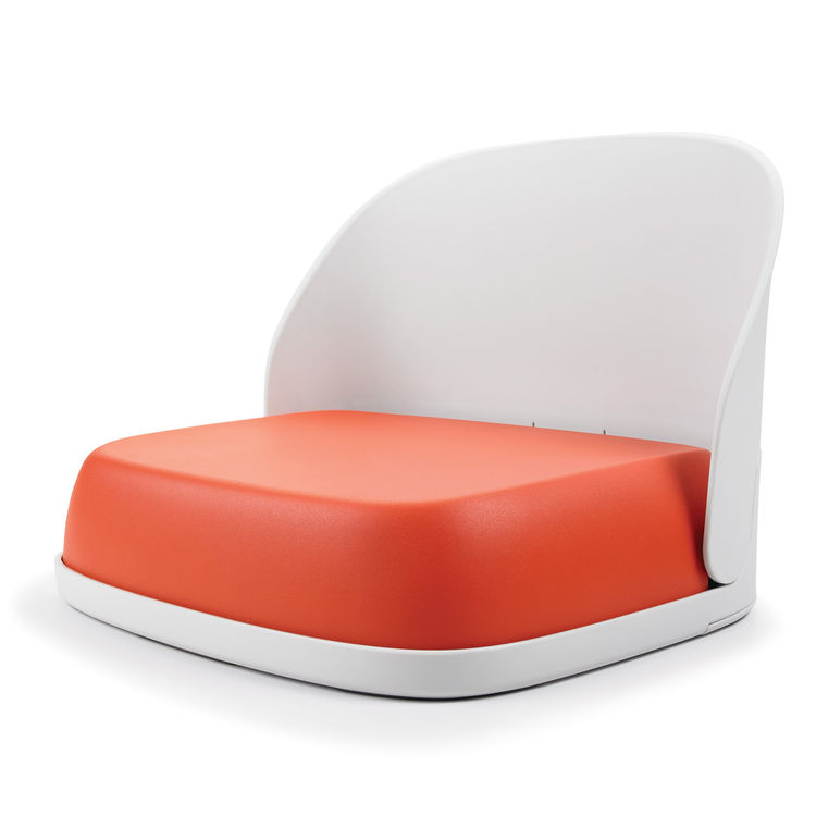 Later this year, OXO will introduce its new Tot Booster Seat. The chair features a three-inch, urethane cushion (available in orange, green, or taupe) and a backrest that locks in place but can fold forward with the push of a button. Its flat stowaway for