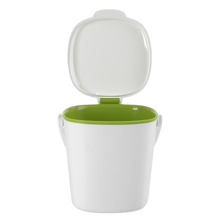 There are so many compost bin designs out there but what makes the OXO Compost Bin great is its simplicity. The bin is an approximately eight-inch cube and weighs just 1.21 pounds. The lid stands open when you're filling it and then removes with a twist f