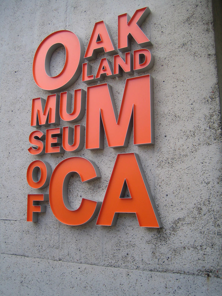 I'll confess to being a great fan of the Oakland Museum of California's logo. This one is attached to the Oak St. facade of the building at the new main entrance.