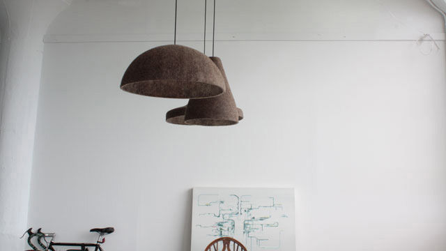 The Soft Tools felt lamps are all hand-pressed from naturally dyed wool. The shapes are derived from the cutting tools used in the shop.