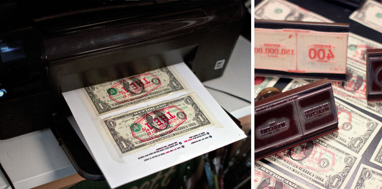 """Not only do Cash and Dao stamp their designs on dollar bills, but they also offer a template you can download to print on your own money. Cash told me that according to the U.S. Bureau of Printing and Engraving """"the dollars are still fit to be used as leg"""