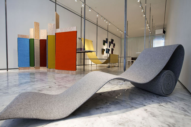 "Another favorite showroom visit was a trip to <a href=""http://www.jilsander.com/"">Jil Sander</a>, where <a href=""http://www.kvadrat.dk/"">Kvadrat</a> was exhibiting limited-edition designs incorporating 58 colors of Hallingdal 65 fabric. In the foreground,"