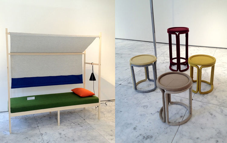 "More from the Kvadrat exhibition at Jil Sander: <a href=""http://www.ateliertakagi.com/basecamp.html"">Jonah Takagi's Basecamp</a> (left) and <a href=""http://www.philippemalouin.com/"">Philippe Malouin</a>'s stools (right) form a colorful counterpoint to the"