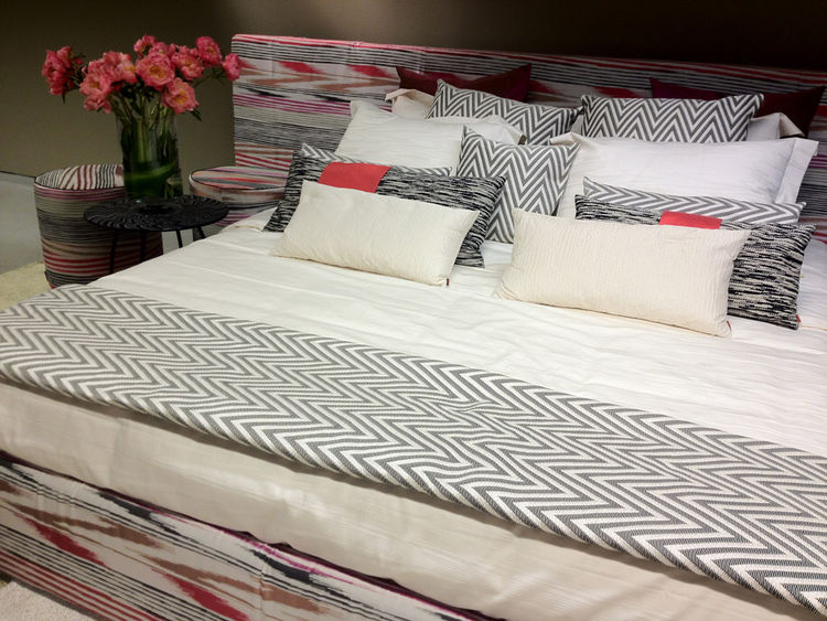 "What's a design week without a <a href=""http://www.missoni.com/ing.html"">Missoni</a>? The Italian label's signature flame stitch is evident in the new line of bedding, which adds touches of lime green, tangerine, and fuchsia to the typical red/black/white"
