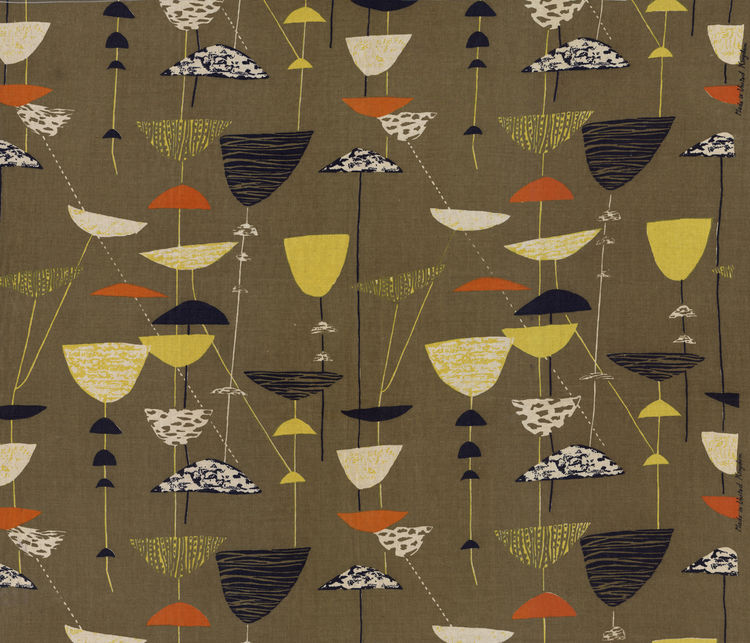 "Calyx, (detail), 1951. Lucienne Day. Manufactured by Heal Fabrics. Jill A. Wiltse and H. Kirk Brown III Collection of British Textiles. On display at the Textile Museum in Washington, DC, May 15-September 12, 2010, as part of the exhibit <i><a href=""http:"