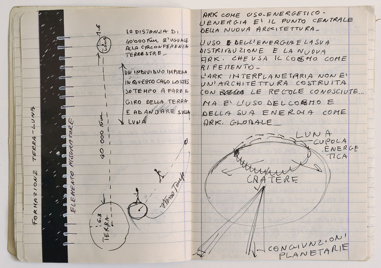 """Notes by Alessandro Poli for the movie Architettura Interplanetaria (Interplanetary architecture), 1970-71. On view at the Canadian Center for Architecture through September 6, 2010, as part of the <i><a href=""""http://www.cca.qc.ca/en/exhibitions/417-other"""