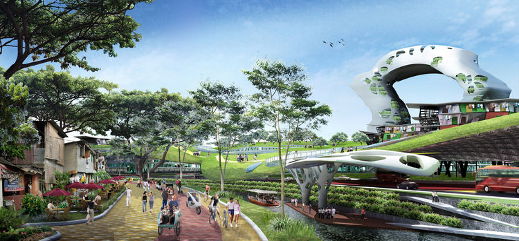 In Manggarai, a key transit hub in Jakarta, Indonesia, planned developments threaten to disperse local residents and replace communities with more and more freeways and cars. Budi Pradono Architects' proposal intertwines highways, public transit routes, a