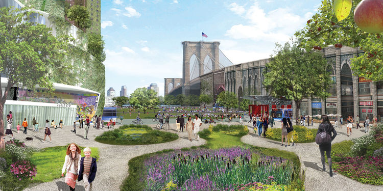 Terreform and Michael Sorkin Studio's vision for the Manhattan side of the Brooklyn Bridge, an area tangled up in highways, parking lots, and the little-used southbound FDR Drive, includes creating a two-way bike lane for bicyclists on the lower level of