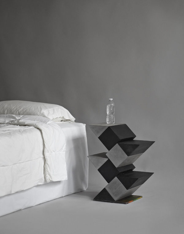 Jim Drain's nightstand, made of cedar, paint, and steel, was inspired by a 1918 Piet Mondrian painting.