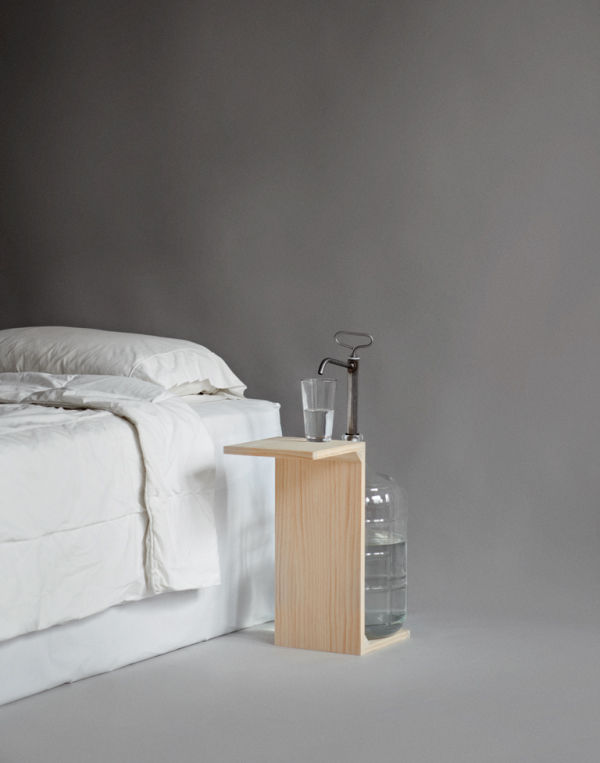 For people who want more than a single glass of water by their bed, this nightstand by Leon Rasmeier should do the trick. A five-gallon jug with integrated pump ensures you'll never wake up parched again.