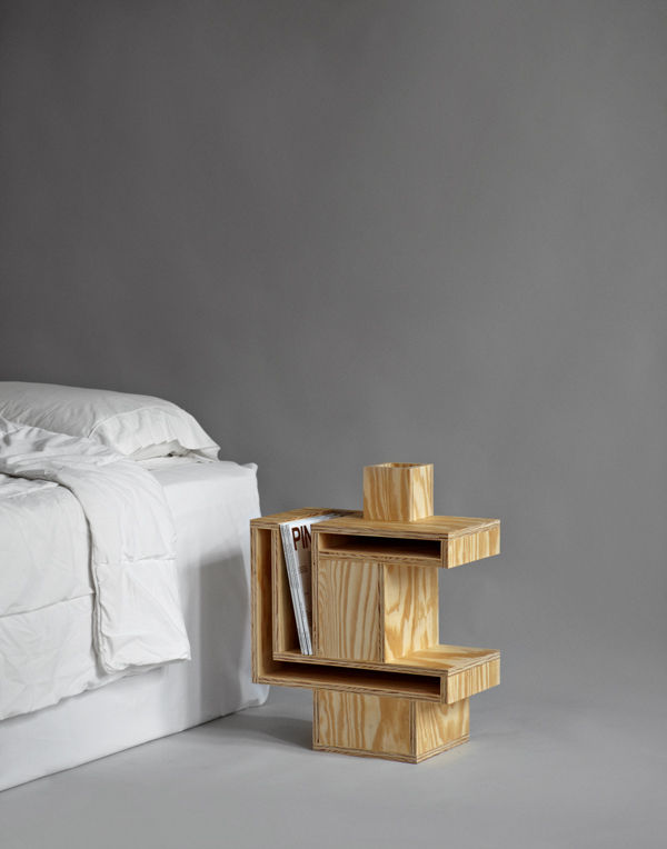 RO/LU's cubist plywood nightstand was inspired by an Ettore Sottsass cabinet discovered online. The slots are intended to store magazines.