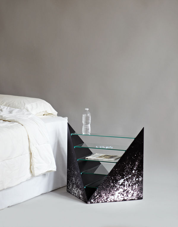 """A sharp-edged nightstand by Rafael de Cardenas and Evan Gruzis, made from paint, MDF, and glass, puts everything on display.<br /><br /><p><em><strong>Don't miss a word of Dwell! Download our </strong></em><a href=""""http://itunes.apple.com/us/app/dwell/id4"""