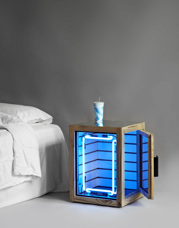 """Shawn Maximo's nightstand is made from pressure-treated wood, MDF, glass, mirror, neon, and brass. It's intended for the display of illicit objects, or to act as a """"mini-convenience store beside the bed,"""" said Maximo."""