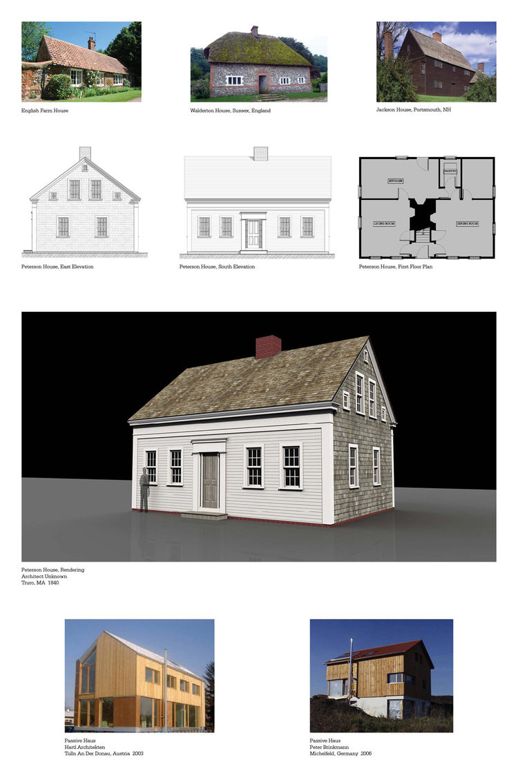 This board makes the clearest case for the formal links between the cottages and farmhouses of Europe and early America and the Cape Cod cottage. The Peterson House (center) was once home to the lighthouse keeper of Truro harbor, and is a classic example