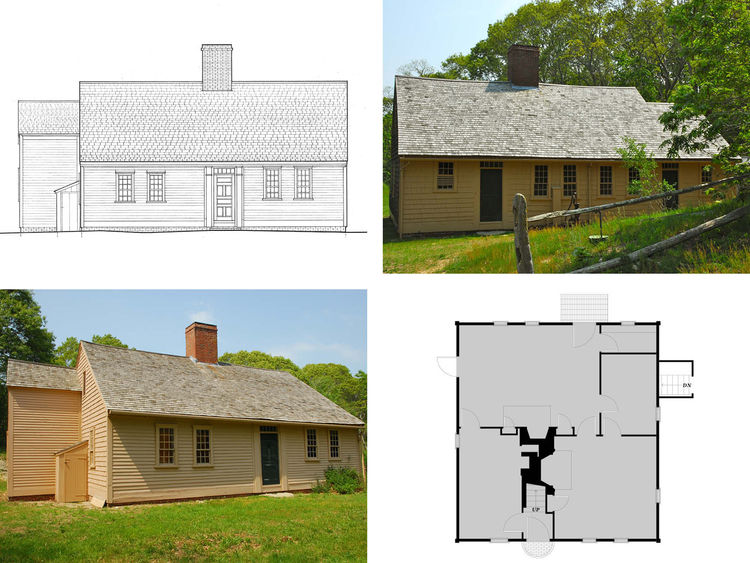 We get another look here at the Atwood-Higgins cottage from 1730. The plan on the bottom right is of Ebenezer-Atwood house by an unknown architect. Though the home is clearly not modern, it's easy to see that a stripped-down approach to design rules here.
