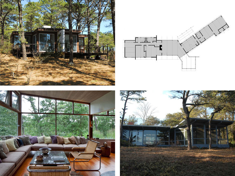 This board offers a quartet of modern Cape Cod residences. Clockwise from top left we have the Colony Club Cottage by Staltonstall and Morton in Wellfleet (1951); the plan for the Comfort House by Satltonstall and Morton in Wellfleet (1951); a view of the