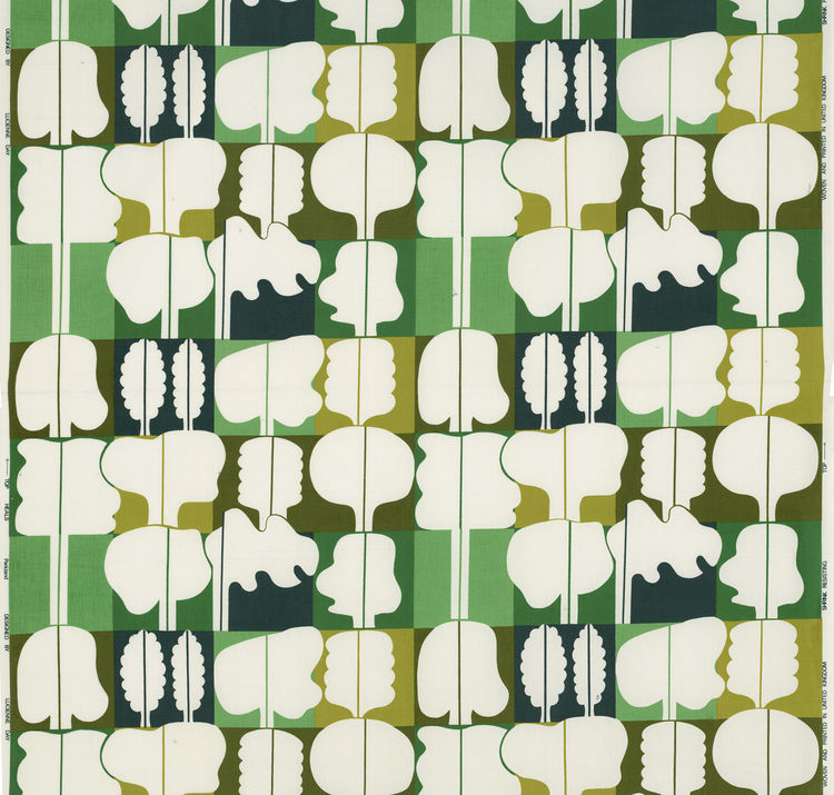 "Parkland, (detail), 1974. Lucienne Day. Manufactured by Heal Fabrics. Jill A. Wiltse and H. Kirk Brown III Collection of British Textiles. On display at the Textile Museum in Washington, DC, May 15-September 12, 2010, as part of the exhibit <i><a href=""ht"
