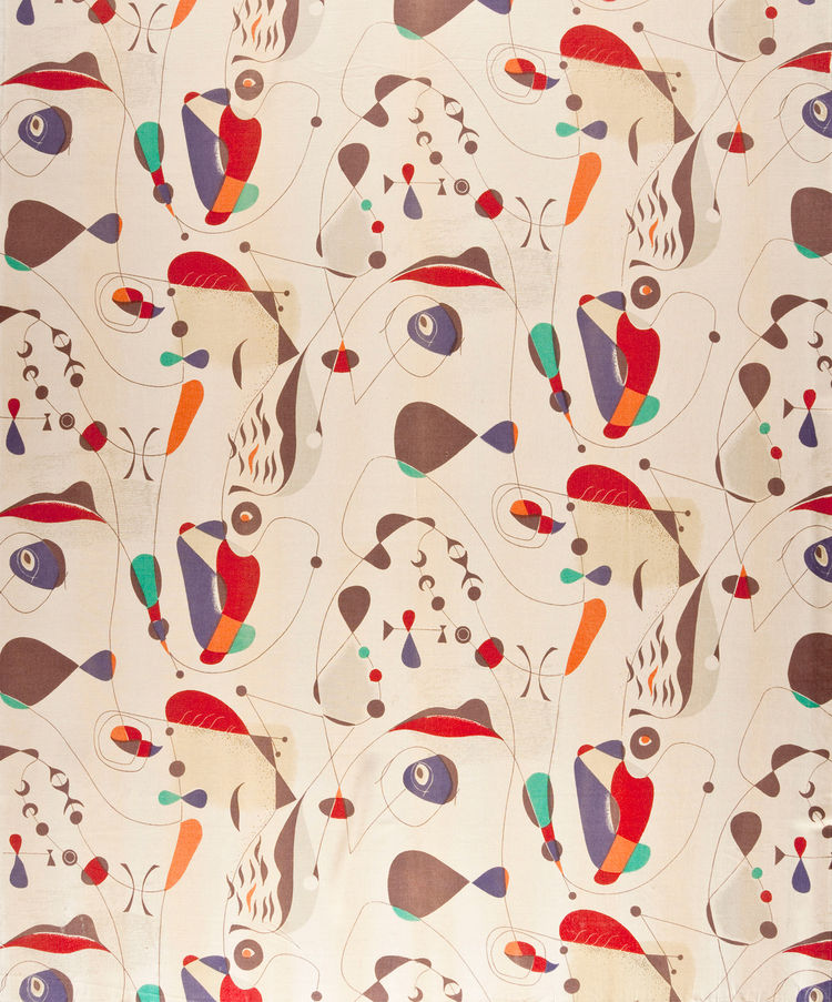 Hungarian designer Paul Laszlo created this cotton-rayon textile in 1954 or before; its strong Miró-esque forms evoke a cultural cross-section of modernism.