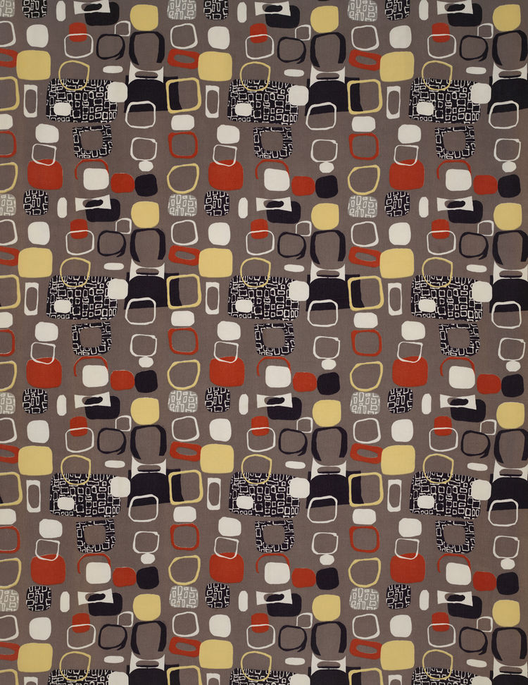 Untitled (Pebbles), (detail), ca. 1952. Jacqueline Groag. Manufactured by David Whitehead, Ltd. Jill A. Wiltse and H. Kirk Brown III Collection of British Textiles. On display at the Textile Museum in Washington, DC, May 15-September 12, 2010, as part of