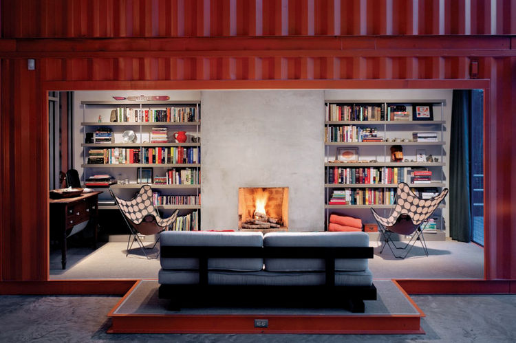 "The living room, snuggled into a shipping container, in the Adriance House by <a href=""http://www.architectureandhygiene.com"">Adam Kalkin</a>. Photo from <i>Quik Build: Adam Kalkin's ABC of Container Architecture</i>. Courtesy of Adam Kalkin."