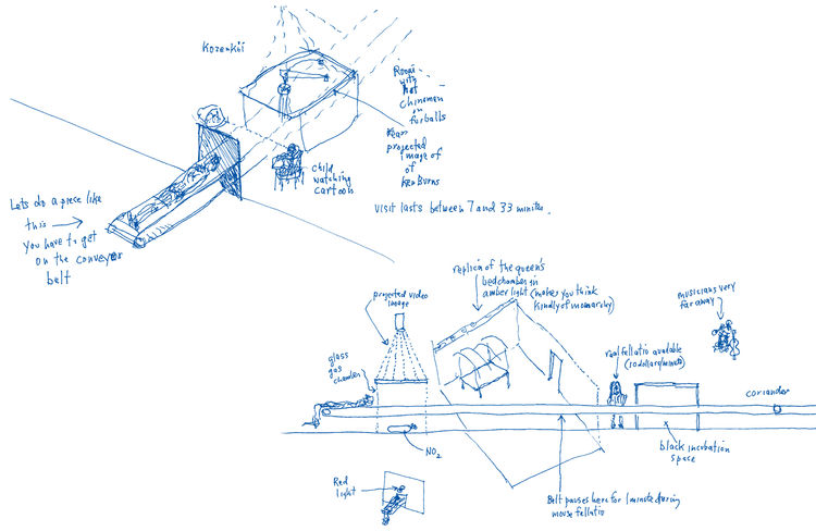 "Sketches of the Boite en Valise by <a href=""http://www.architectureandhygiene.com"">Adam Kalkin</a>. Page from <i>Quik Build: Adam Kalkin's ABC of Container Architecture</i>. Courtesy of Adam Kalkin."