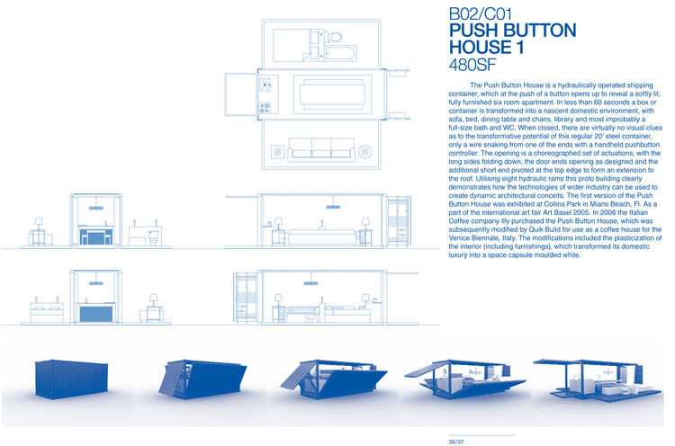 "Push Button House 1 by <a href=""http://www.architectureandhygiene.com"">Adam Kalkin</a>. Page from <i>Quik Build: Adam Kalkin's ABC of Container Architecture</i>. Courtesy of Adam Kalkin."