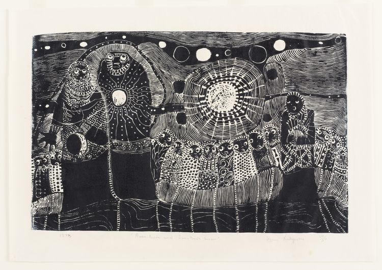 "Dan Rakgoathe (South African, 1937 – 2004). <i>Moon Bride and Sun Bridegroom</i>. 1973. Linoleum cut, block: 15 3/4 × 24 7/8"". Image courtesy MoMA."