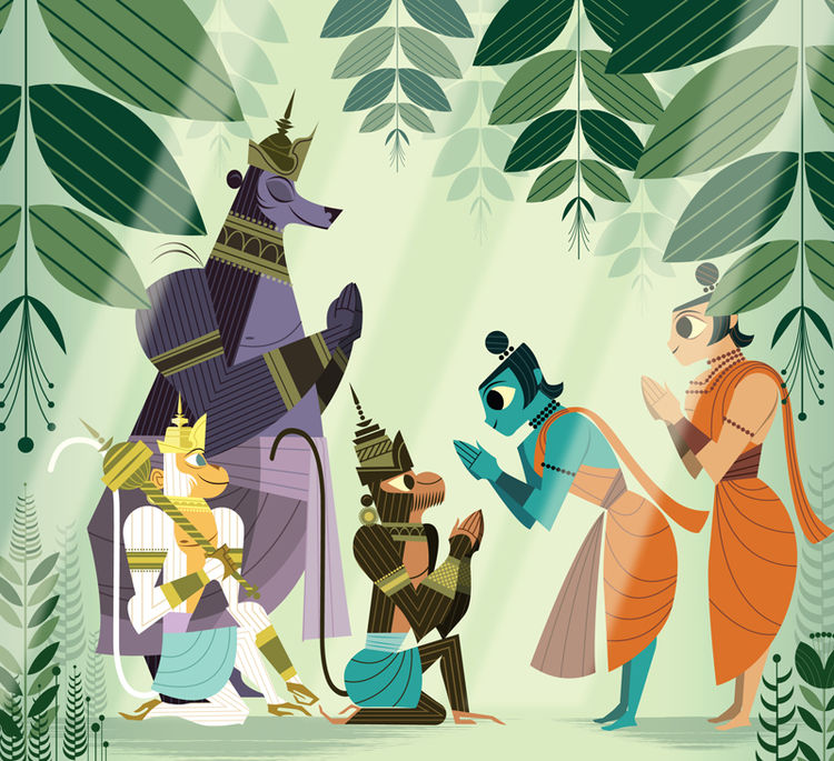 Rama makes friends with Hanuman, Sugriva, and Jambavan, animals that would help marshal his forces against Ravana.