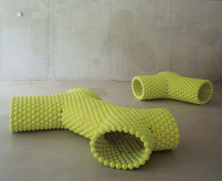 The 2006 Grow Bench is made of metal and tennis balls. After Andre Agassi and Steffi Graf's rather unfortunate foray into furniture design, I'll take this one for sure.