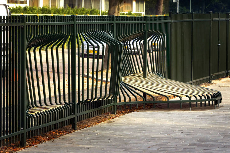 Installed at an elementary school in Dordrecht, the Netherlands, the Meeting Fence offers passersby a place to stop and chat.