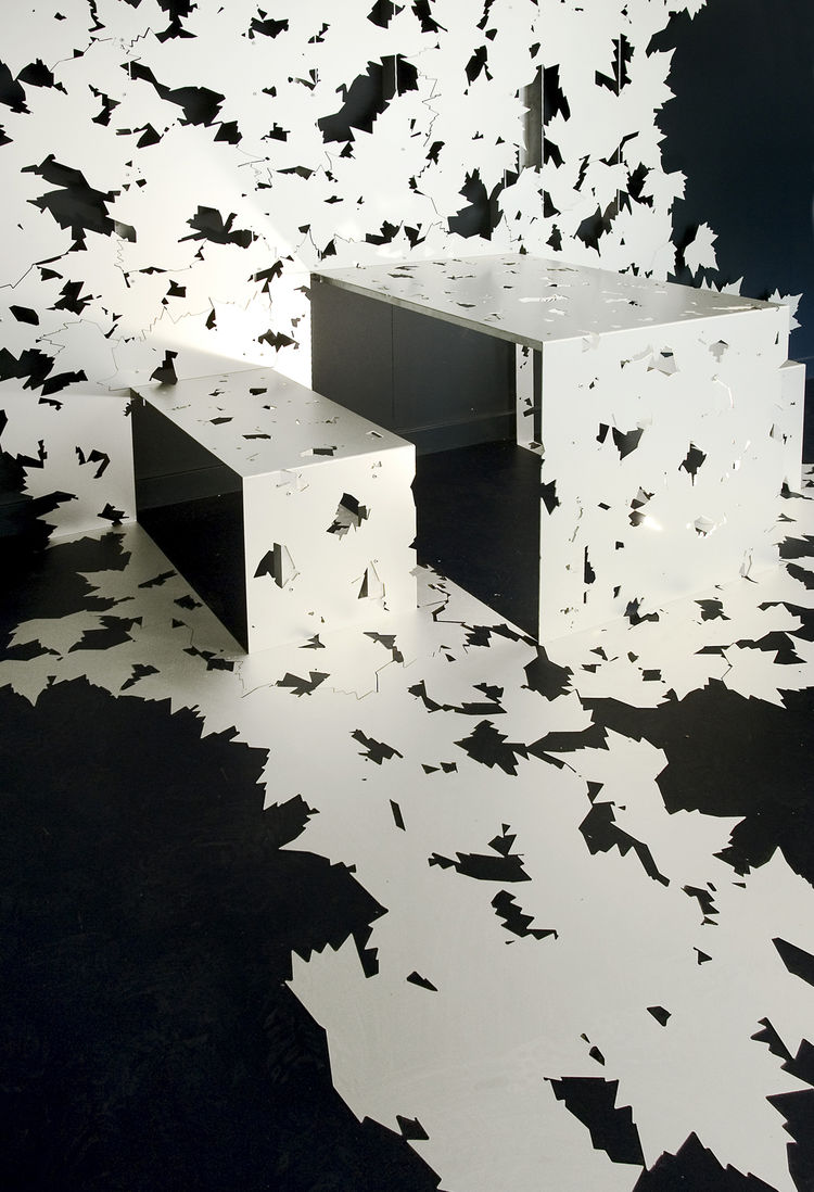 The Leaf Furniture series is made from cut aluminum.