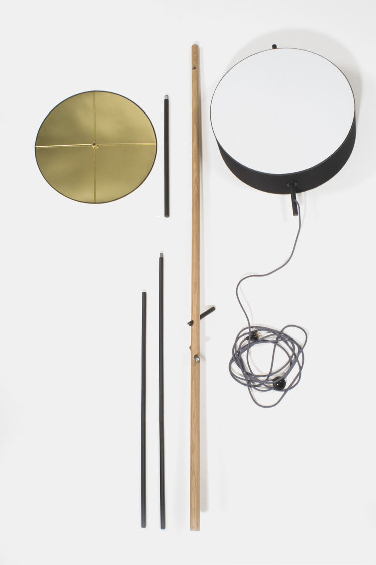 A series of rods, dowels and a drum shade make up the guts and the goodness of Rich Brilliant Willing's design.