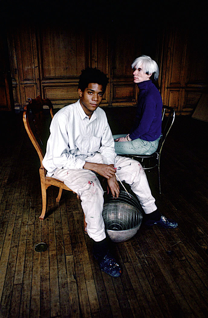 [Another shot of Andy Warhol and Jean-Michel Basquiat, shot in 1984.]