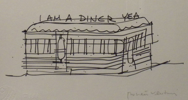 Here, the sign as the descriptor—though the diner has developed its own building typology.