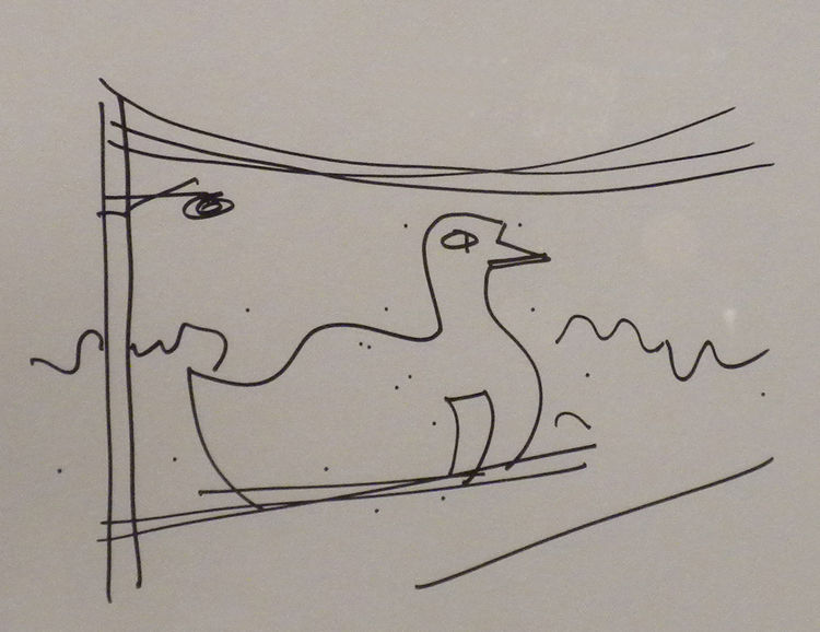My favorite sketch of all was this, showing Venturi's depiction of the Big Duck on Long Island, a building type he dubbed as the decorated shed, in which the building is the sign.