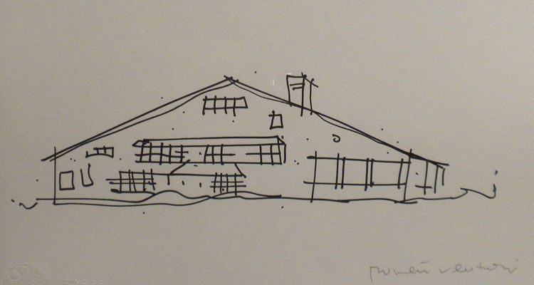 In this image, Venturi sketches McKim, Mead, and White's 1887 Low House in Bristol, Rhode Island, a likely inspiration for the Vanna Venturi House with all of its elements tucked underneath the giant roof.