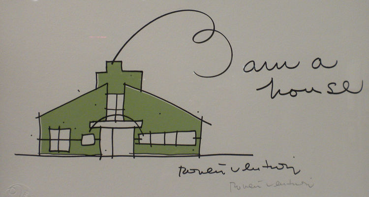 Venturi's sketch of the Vanna Venturi House in Philadelphia, which he designed for his mother and completed in 1962.